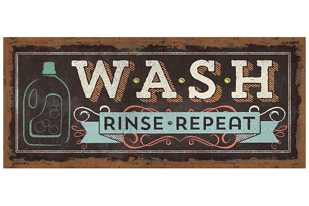 """Home Accents 2'1"""" x 5' Wash, Rinse, Repeat Laundry Runner, , large"""