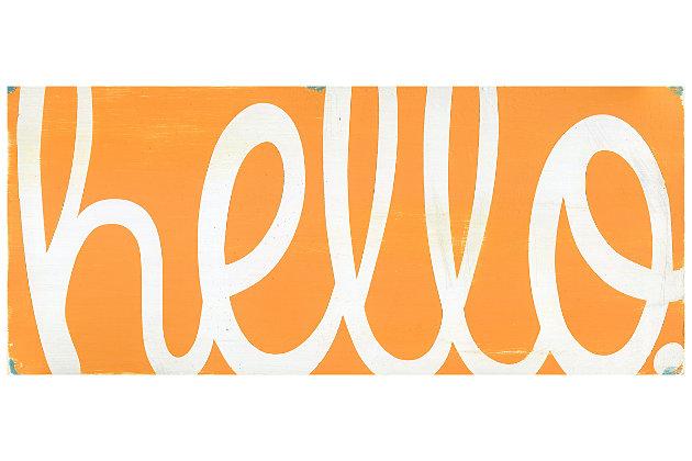 Home Accents Premium Comfort 2' x 4.5' Orange Hello Runner, Orange, large