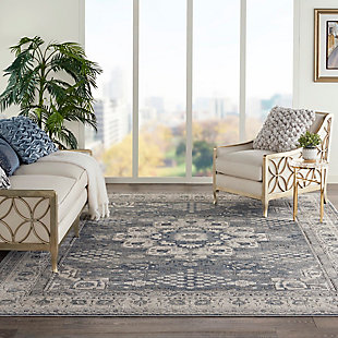 Nourison Nourison Quarry 8' x 10' Persian Area Rug, Gray/Ivory, rollover