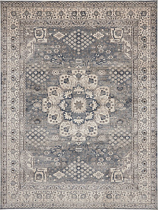 Nourison Nourison Quarry 8' x 10' Persian Area Rug, Gray/Ivory, large