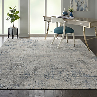 Nourison Nourison Rustic Textures Rus07 Slate Blue And Ivory 8'x11' Large Rug, Ivory/Gray Blue, rollover