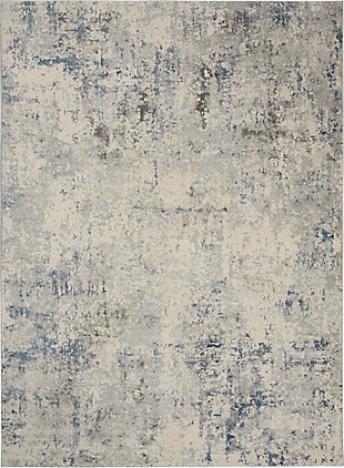 Nourison Nourison Rustic Textures Rus07 Slate Blue And Ivory 8'x11' Large Rug, Ivory/Gray Blue, large