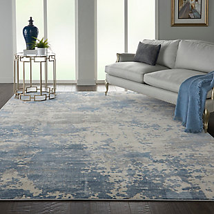 Nourison Nourison Rustic Textures RUS08 Blue and Gray 8'x11' Large Rug, Gray/Blue, rollover