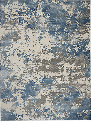 Nourison Nourison Rustic Textures RUS08 Blue and Gray 8'x11' Large Rug, Gray/Blue, large