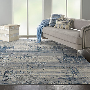 Nourison Nourison Rustic Textures Rus10 Blue And Gray 8'x11' Large Rug, Ivory/Blue, rollover