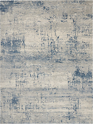 Nourison Nourison Rustic Textures Rus10 Blue And Gray 8'x11' Large Rug, Ivory/Blue, large
