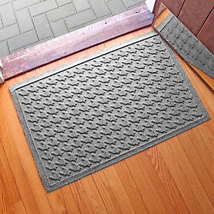 "Home Accents Aqua Shield 1'11"" x 3' Houndstooth Indoor/Outdoor Doormat, Gray, rollover"