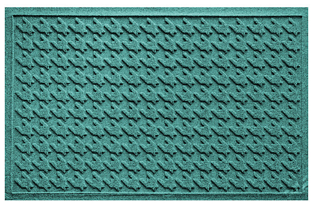Home Accents Aqua Shield 2' x 3' Houndstooth Doormat by Ashley HomeStore, Green