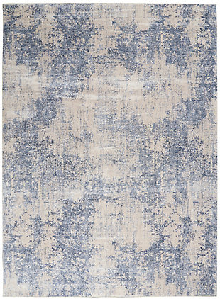 Nourison Silky Textures 8'x 11' Area Rug, Ivory/Blue, large