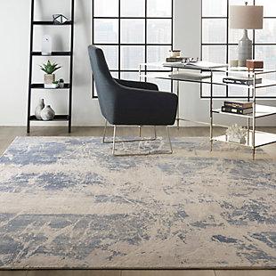 Nourison Silky Textures 8'x 11' Area Rug, Blue/Cream, rollover