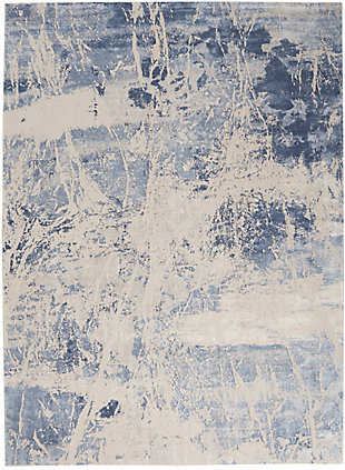 Nourison Silky Textures 8'x 11' Area Rug, Blue/Cream, large