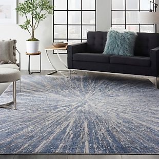 Nourison Silky Textures 8'x 11' Area Rug, Blue/Gray, rollover