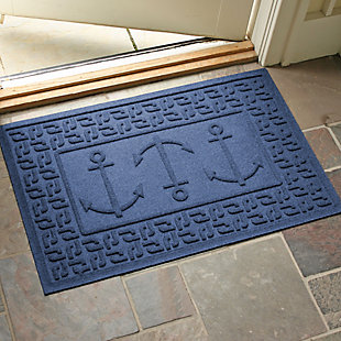 "Home Accents Aqua Shield 1'11"" x 3' Ahoy! Indoor/Outdoor Doormat, Blue, rollover"