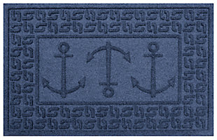 "Home Accents Aqua Shield 1'11"" x 3' Ahoy! Indoor/Outdoor Doormat, Blue, large"