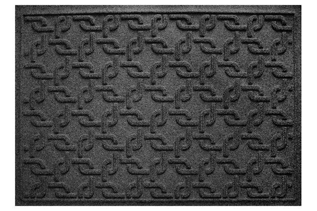 """Home Accents Aqua Shield 1'11"""" x 3' Interlink Indoor/Outdoor Doormat, Black, large"""