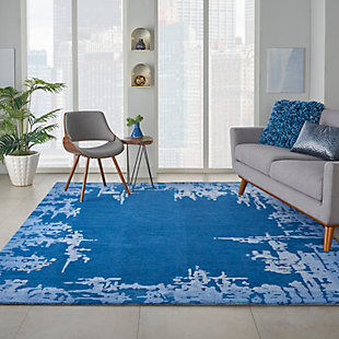 Nourison Symmetry Navy Blue 8'x10' Large Textured Rug, Navy Blue, rollover