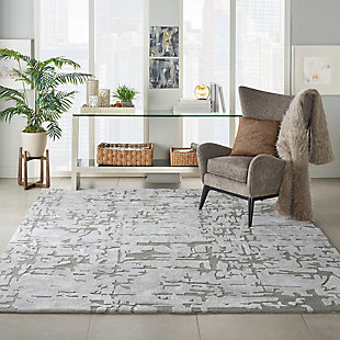 Nourison Symmetry Silver 8'x10' Large Textured Rug, Ivory/Taupe, rollover