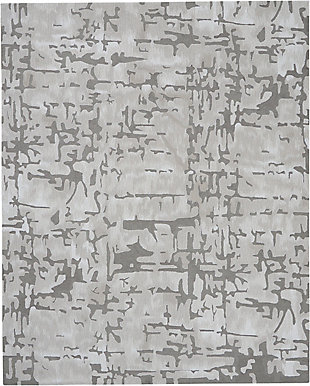 Nourison Symmetry Silver 8'x10' Large Textured Rug, Ivory/Taupe, large
