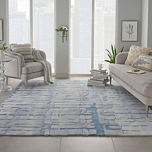 Nourison Symmetry Blue and Gray 8'x10' Large Textured Rug, Blue/Gray, rollover