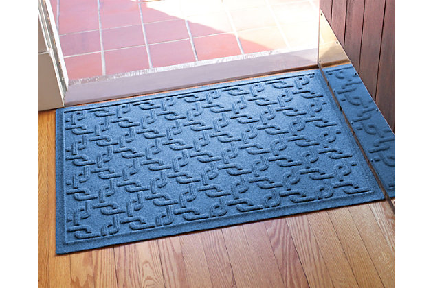 "Home Accents Aqua Shield 1'11"" x 3' Interlink Indoor/Outdoor Doormat, Blue, large"