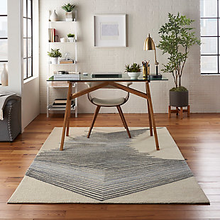 Nourison Symmetry Ivory 5'x8' Area Rug, Ivory/Gray, rollover