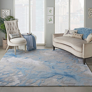 Nourison Symmetry Beige and Blue 8'x10' Large Textured Rug, Light Blue/Ivory, rollover