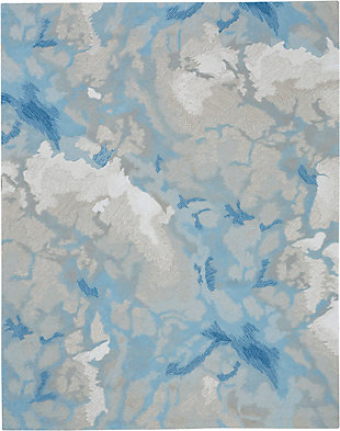 Nourison Symmetry Beige and Blue 8'x10' Large Textured Rug, Light Blue/Ivory, large