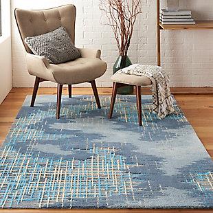 Nourison Symmetry Slate Blue And Gray 5'x8' Area Rug, Blue/Beige, rollover