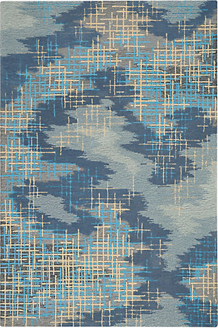 Nourison Symmetry Slate Blue and Gray 5'x8' Area Rug, Blue/Beige, large