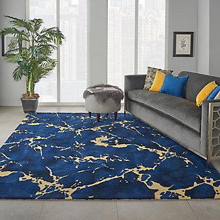 Nourison Symmetry Navy Blue Artistic Large Rug, Navy, rollover