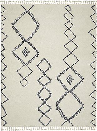 Nourison Serenity Shag 8' x 11' Contemporary Area Rug, Ivory/Slate, large