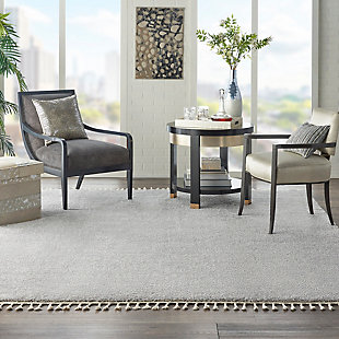 Nourison Serenity Shag 8' x 11' Contemporary Area Rug, Light Gray, rollover