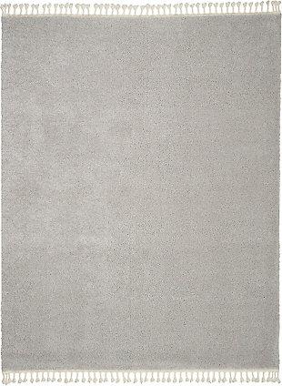 Nourison Serenity Shag 8' x 11' Contemporary Area Rug, Light Gray, large