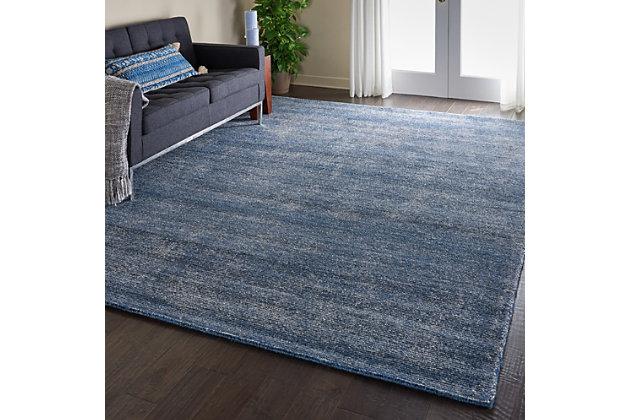 Nourison Weston Blue 8'x11' Oversized Textured Rug, Agean Blue, large