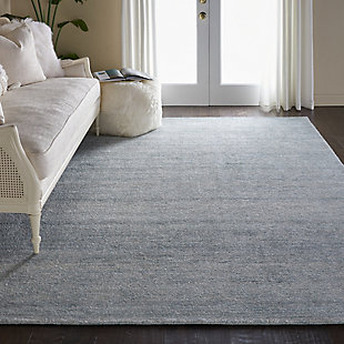 Nourison Weston Light Blue 8'x11' Oversized Textured Rug, Aquamarine, rollover