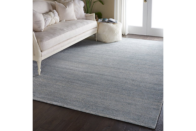 Nourison Weston Light Blue 8'x11' Oversized Textured Rug, Aquamarine, large