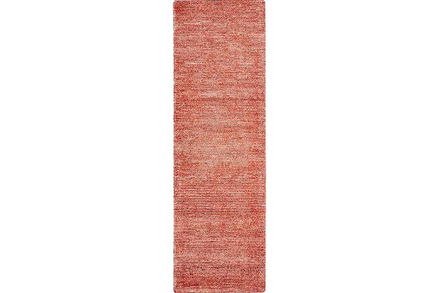 Nourison Weston Red 8' Runner Textured Hallway Rug, Brick, large
