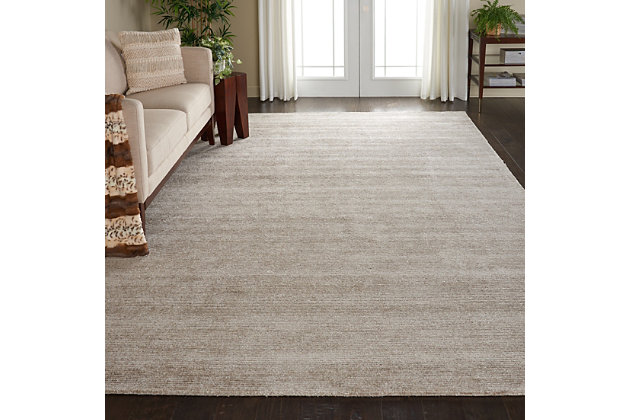 Nourison Weston Taupe 8'x11' Oversized Textured Rug, Oatmeal, large