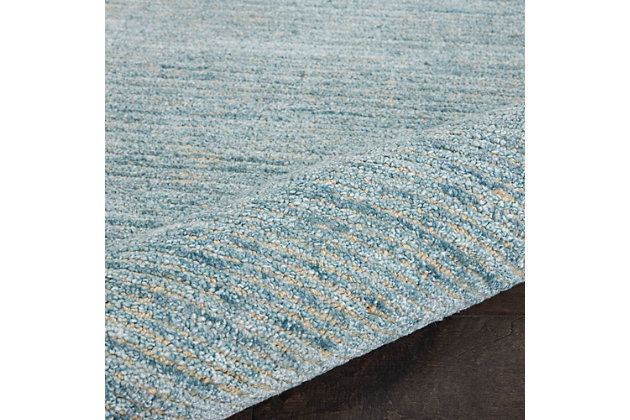 Nourison Weston Light Blue 4'x6' Contemporary Area Rug, Seafoam, large