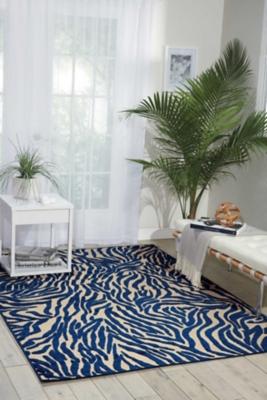 Nourison Aloha Navy 8'x11' Oversized Indoor-outdoor Rug, Navy, large