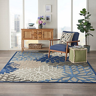 Nourison Aloha 8'x11' Blue Patio Area Rug, Blue/Multi, rollover