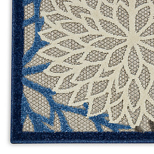 Nourison Aloha 8'x11' Blue Patio Area Rug, Blue/Multi, large