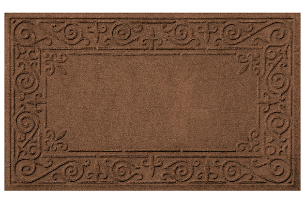 "Home Accents Aqua Shield 1'11"" x 3' Iron Fleur Indoor/Outdoor Doormat, Brown, large"