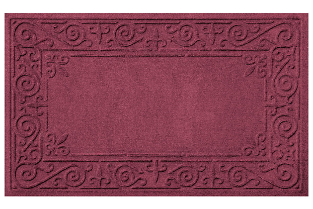 Home Accents Aqua Shield 2' x 3' Iron Fleur Doormat by Ashley HomeStore, Red