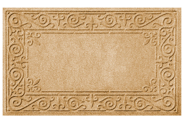 "Home Accents Aqua Shield 1'11"" x 3' Iron Fleur Indoor/Outdoor Doormat, Beige, large"
