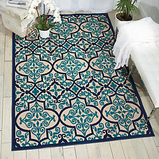 Nourison Aloha Dark Blue and Ivory 5'x8' Indoor-outdoor Area Rug, Navy, rollover