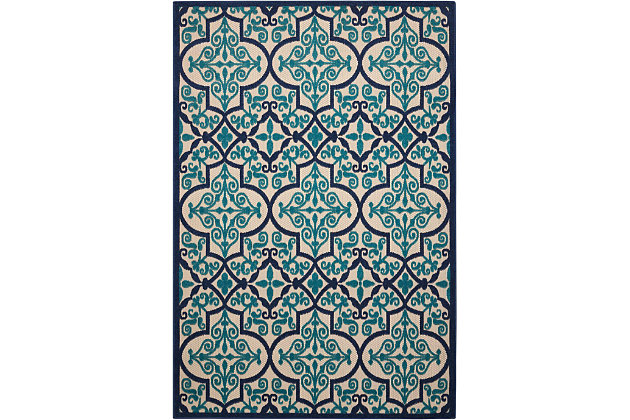 Nourison Aloha Dark Blue And Ivory 5'x8' Indoor-outdoor Area Rug, Navy, large