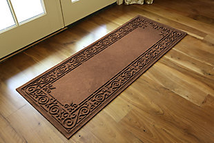 Home Accents Aqua Shield 2' x 5' Iron Fleur Runner, Brown, rollover