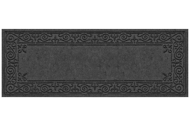 Home Accents Aqua Shield 2' x 5' Iron Fleur Runner, Black, large