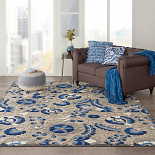 Nourison Aloha 8'x11' Blue Patio Area Rug, Natural/Blue, rollover